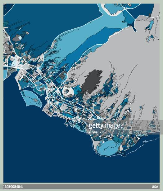 blue art illustration style map,honolulu city,usa - honolulu stock illustrations