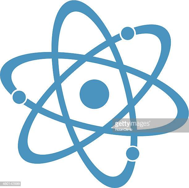 blue atom - nuclear energy stock illustrations