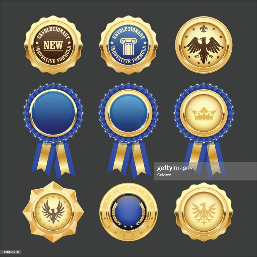 Blue award rosettes, insignia and heraldic medals
