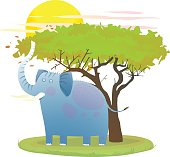 Blue Baby Elephant in nature with tree and sun