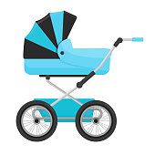 Blue baby stroller isolated on white background. Vector
