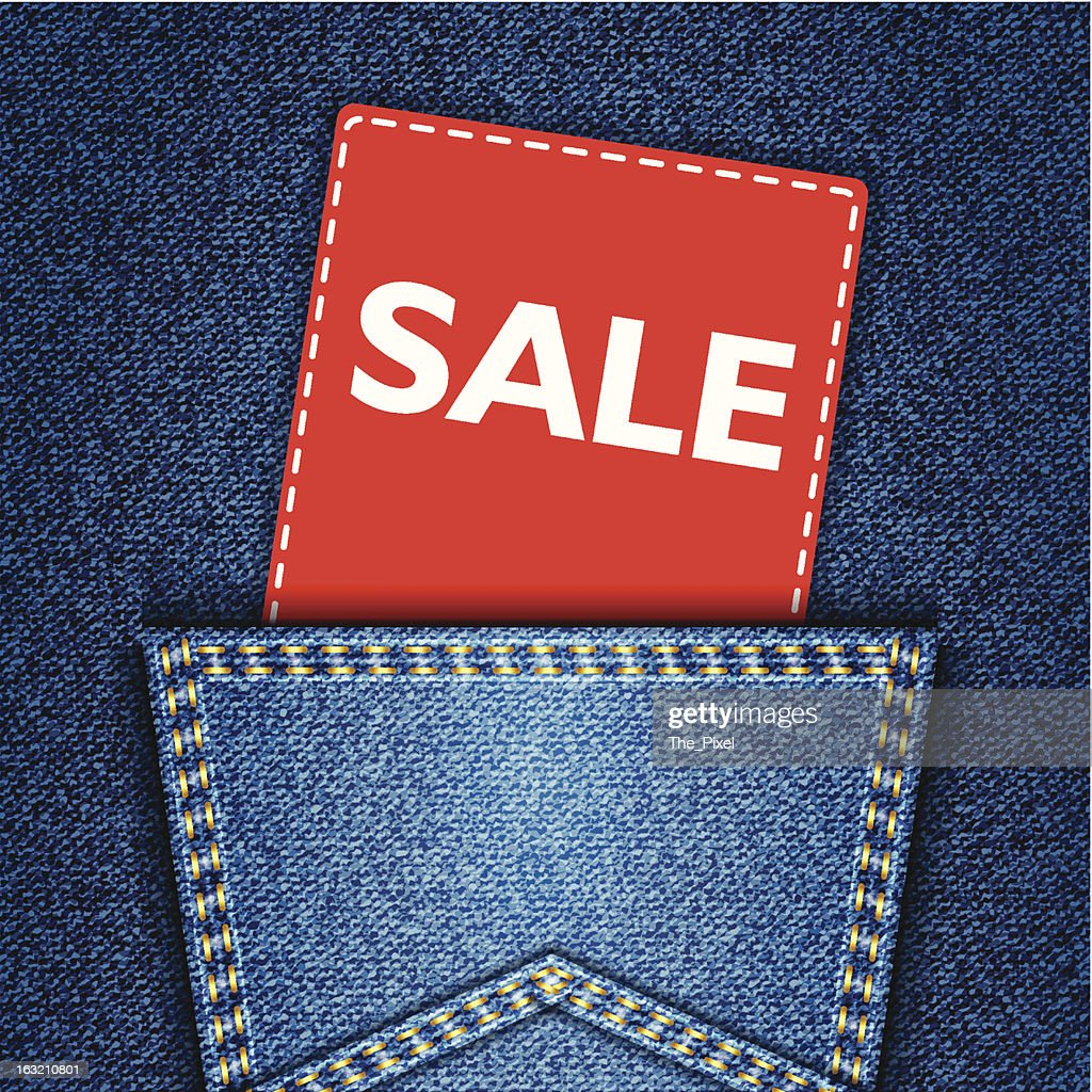 Blue back jeans pocket realistic denim texture with sale tag
