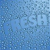 Blue background, inscription of fresh steamed drops