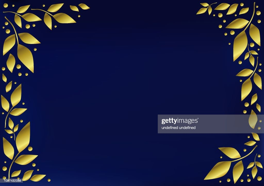 Blue background stylized as velvet decorated with golden leaves and dots