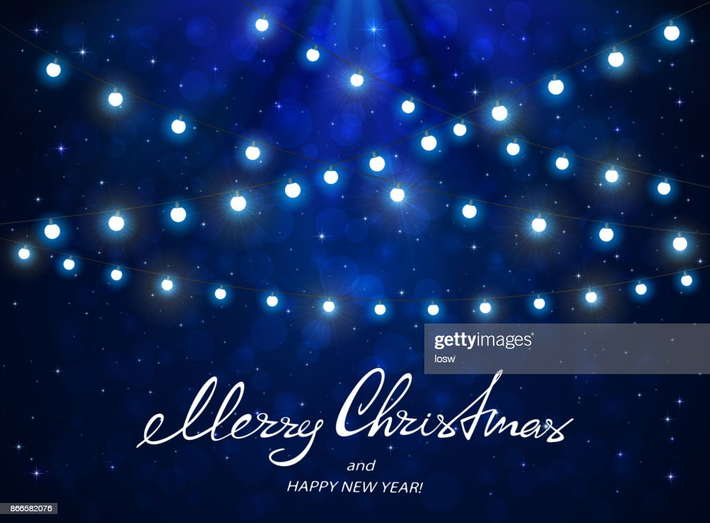 Blaue Weihnachtsbeleuchtung.Blauer Hintergrund Mit Weihnachtsbeleuchtung Vektorgrafik Getty Images