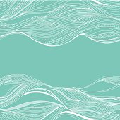 Blue background with line white drawing of waves