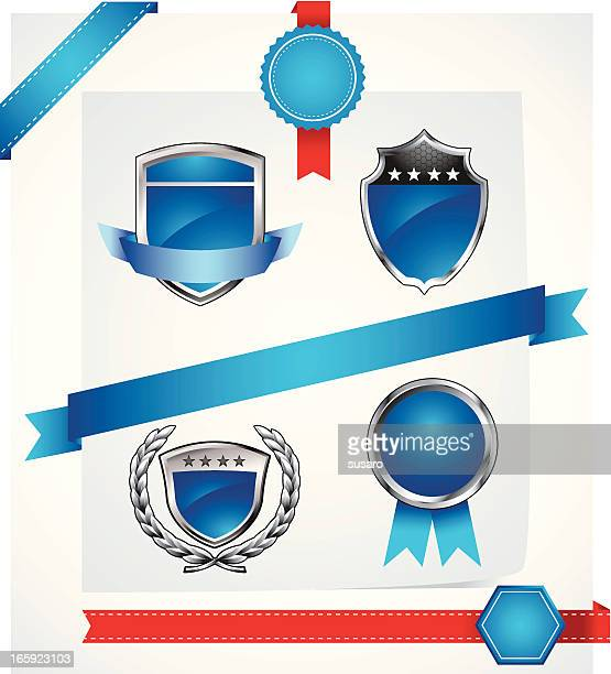 blue badges and ribbons - memorial plaque stock illustrations, clip art, cartoons, & icons