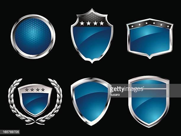 blue badges - award plaque stock illustrations, clip art, cartoons, & icons