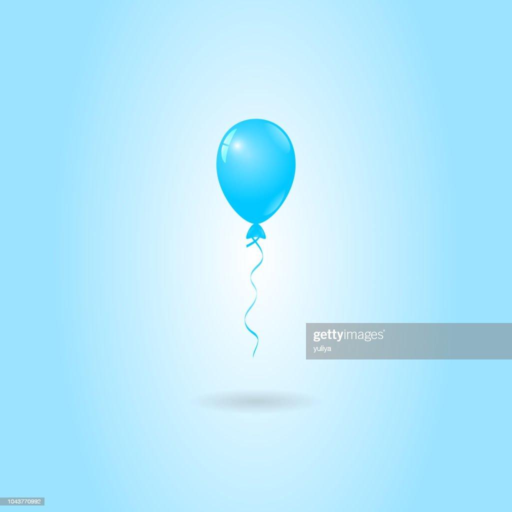 Blue Balloon on Blue Background, Birthday Card, Party Invitation Card : Vector Art