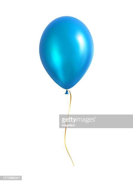 黄色のリボンが付く青いバルーン - 風船点のイラスト素材/クリップアート素材/マンガ素材/アイコン素材