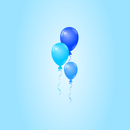 Blue Balloons on Blue Background, Birthday Card, Party Invitation Card - gettyimageskorea