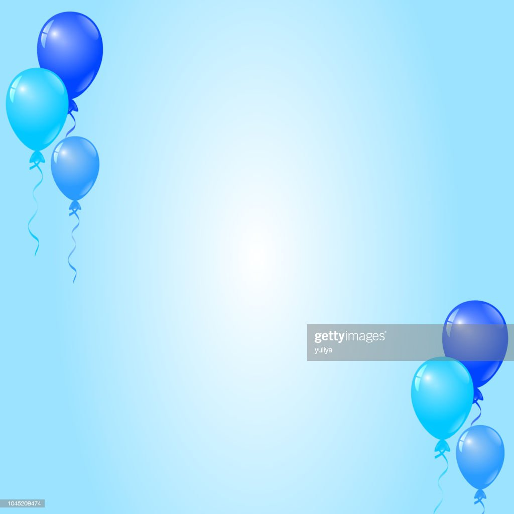 Blue Balloons On Blue Background Birthday Card Party