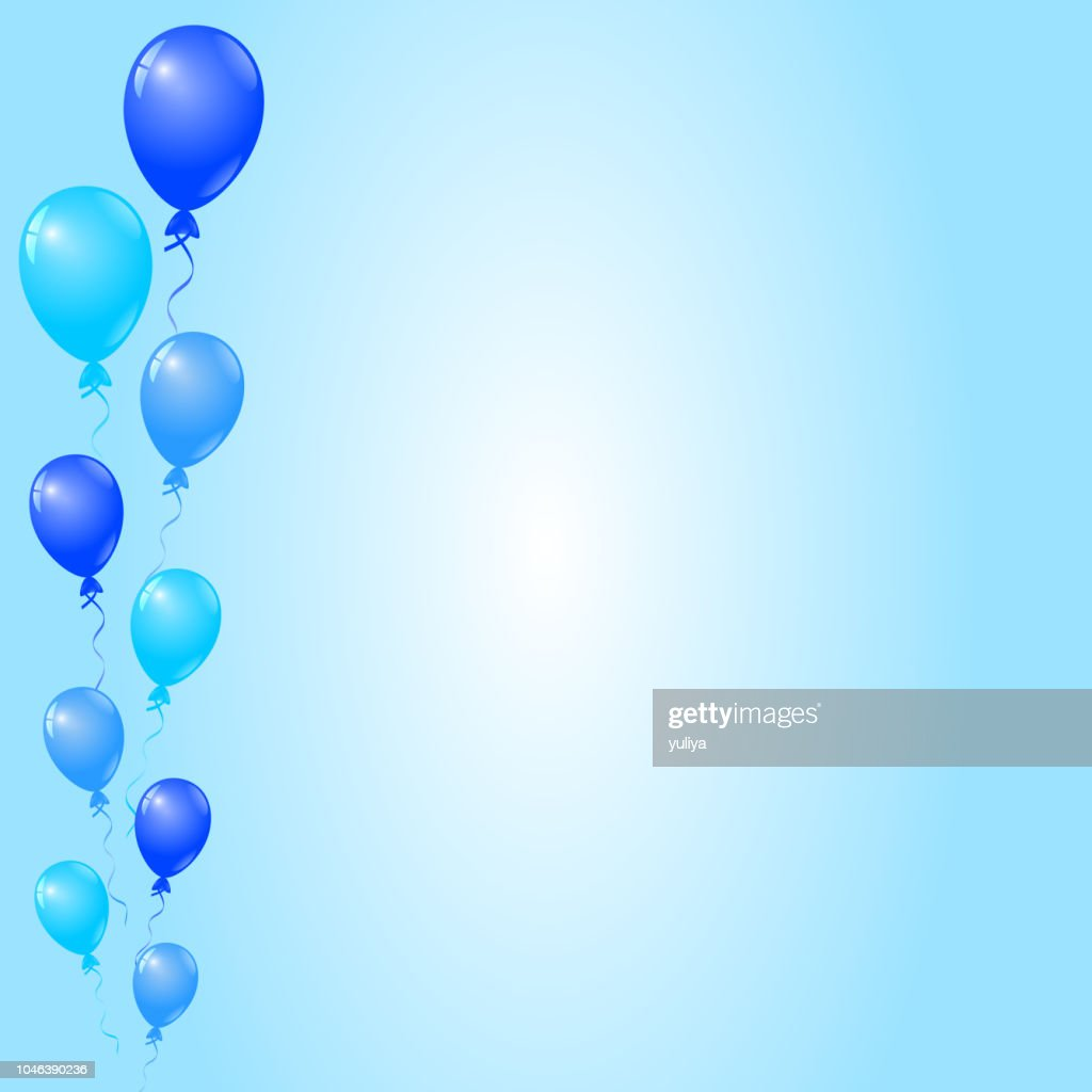 Blue Balloons On Blue Background Birthday Card Party Invitation Card