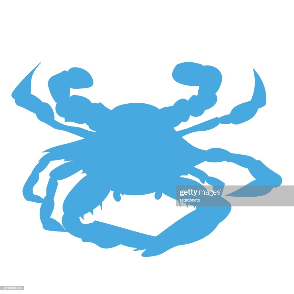Blue Baltimore or Maryland Crab silhouette. Chesapeake Bay Crab.