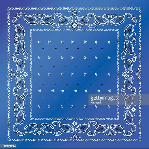a blue bandana with white frames - bandana stock illustrations