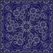 Blue bandanna with white pattern.
