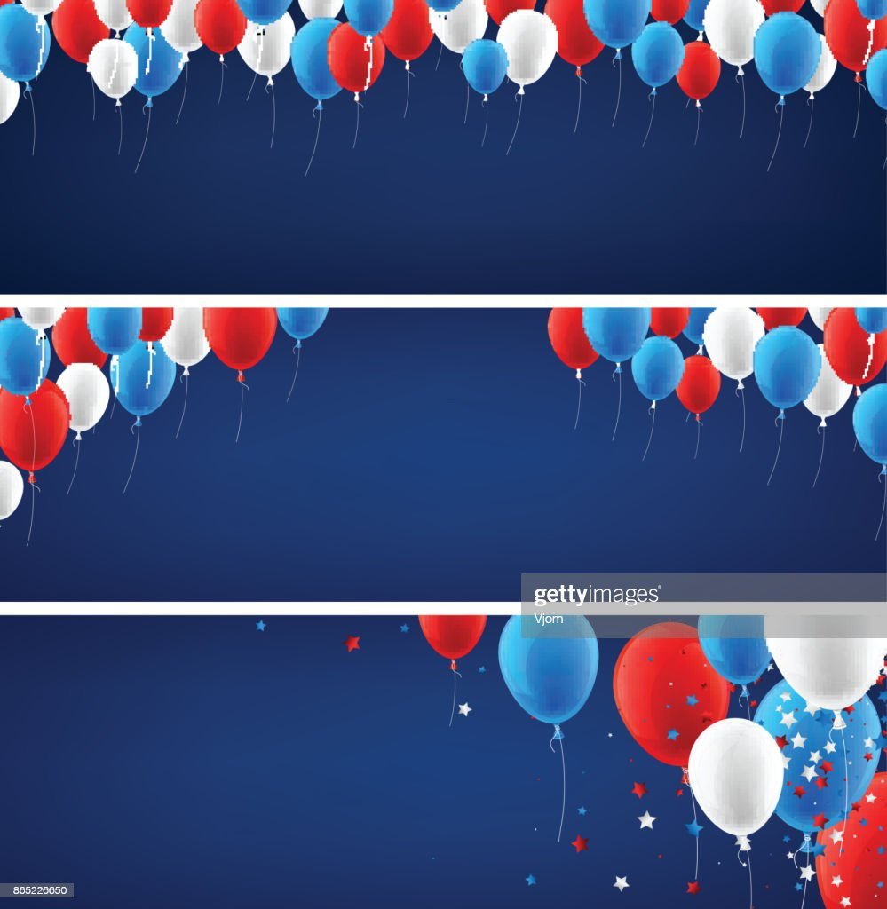 Blue banners set with balloons.