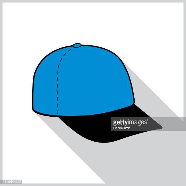 blue baseball cap shadow icon - uniform cap stock illustrations