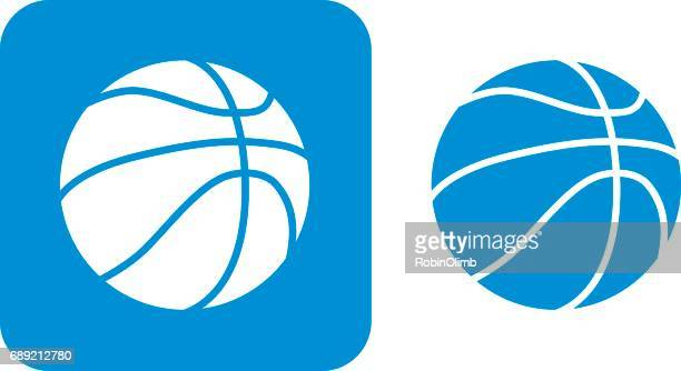 blue basketball icons - sport set competition round stock illustrations