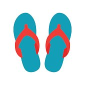 Blue beach slippers icon isolated on white background