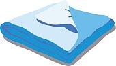 Blue bed linen.