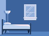 Blue Bedroom With Window Flat Vector Background