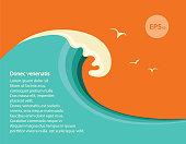 Blue big wave illustration for text