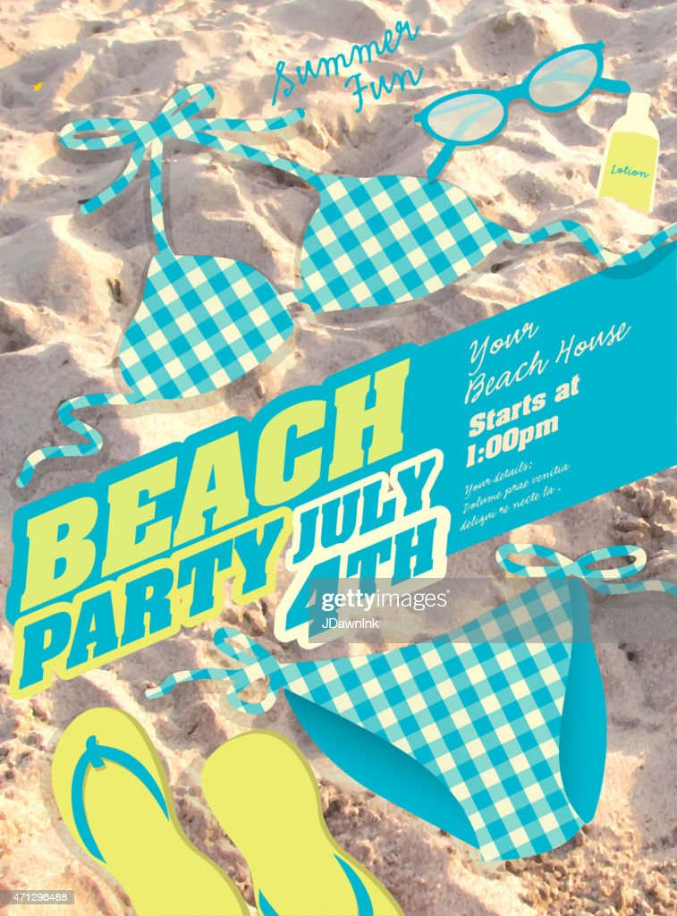 Blue Bikini and sand Beach party template invitation design