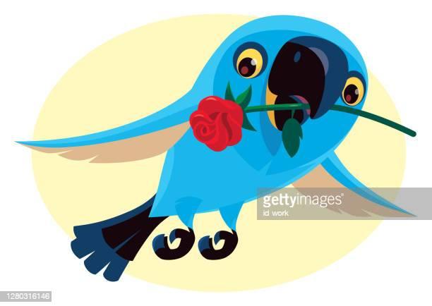 青い鳥が花を持っている - くわえる点のイラスト素材/クリップアート素材/マンガ素材/アイコン素材