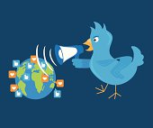 Blue bird is shouting through a megaphone on the planet