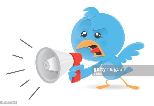 Blue bird megaphone bullhorn announcement statement yelling shouting screaming