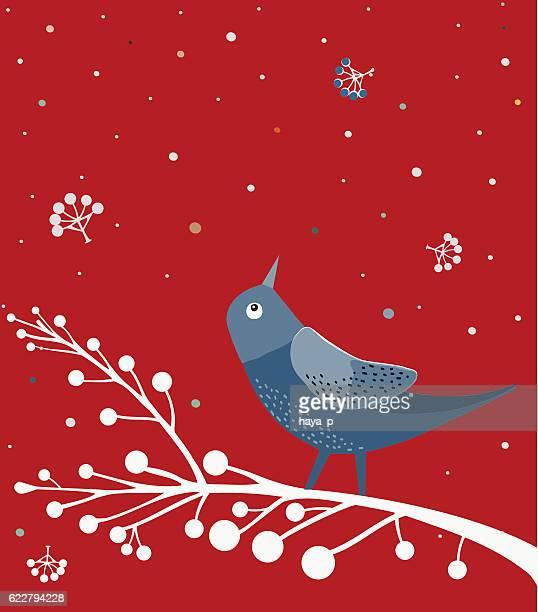 Blue Bird On White Branch , Red background