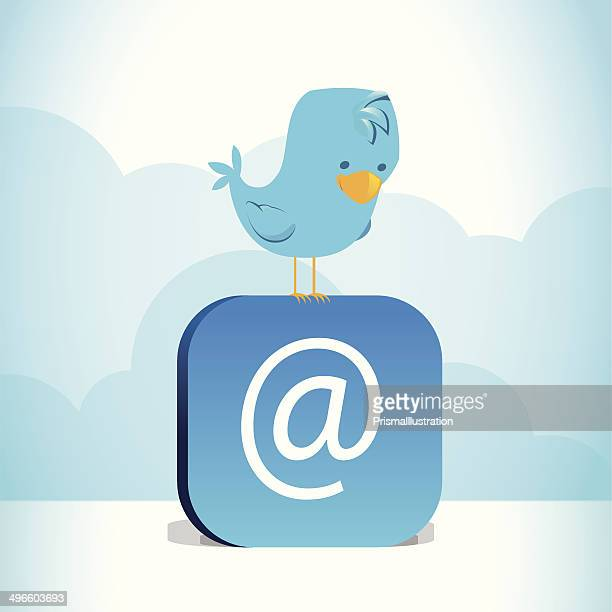 blue bird perched on blue @ symbol - hashtag stock illustrations