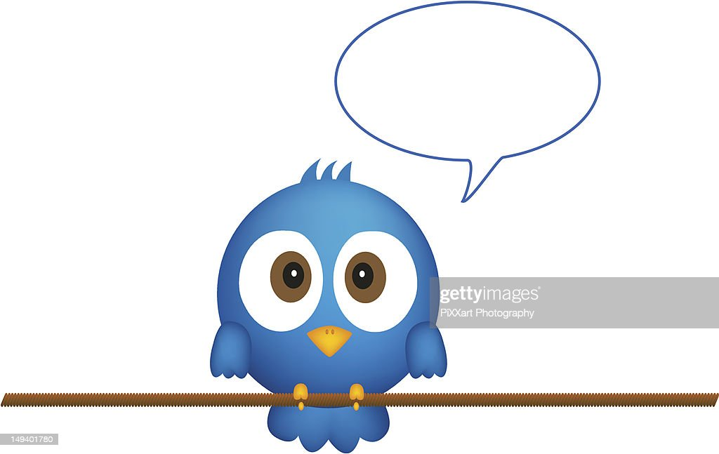 Blue bird sitting on rope, with speech bubble