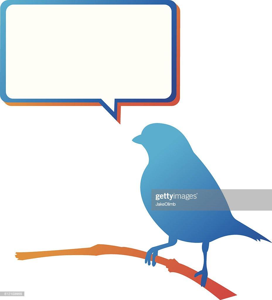 Blue Bird Speech Bubble