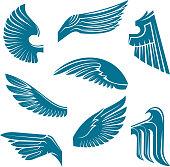 Blue bird wings heraldic design elements