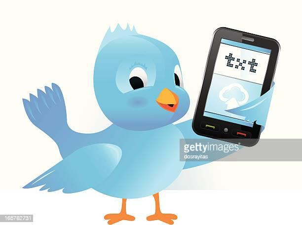 blue bird with cellphone - animal limb stock illustrations, clip art, cartoons, & icons
