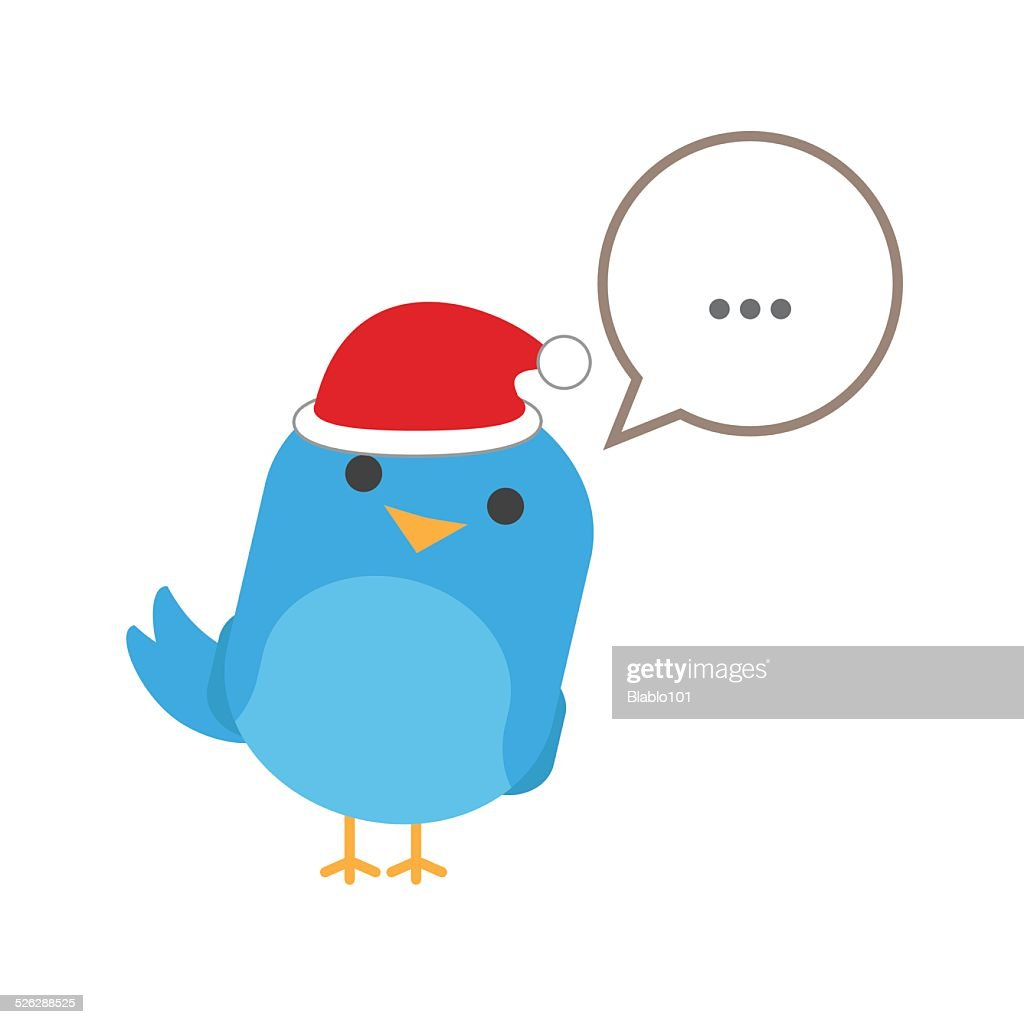 Blue bird with comic balloon and santa hat