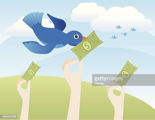 Blue Bird with Money