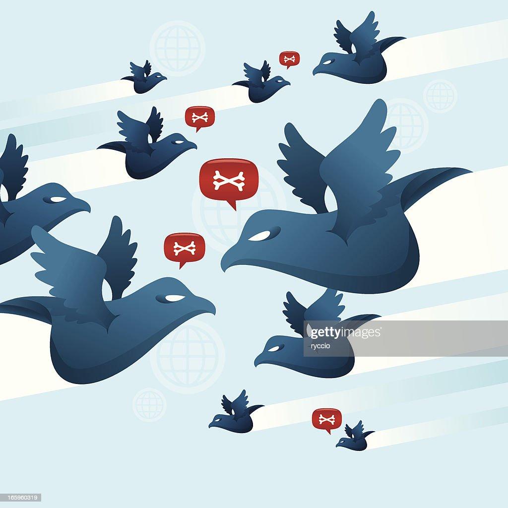 Blue birds war : stock illustration