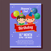 blue birthday party invitation with kids and balloon