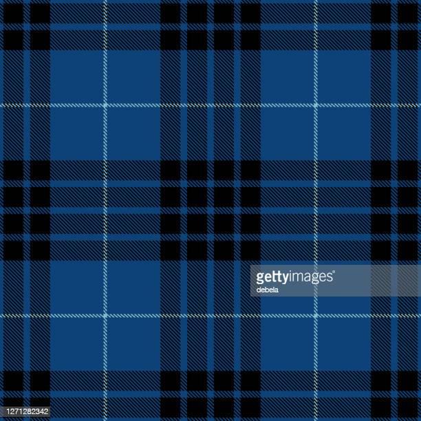 blue black scottish tartan plaid textile pattern - scottish culture stock illustrations