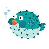 Blue Blowfish cartoon character vector illustration.