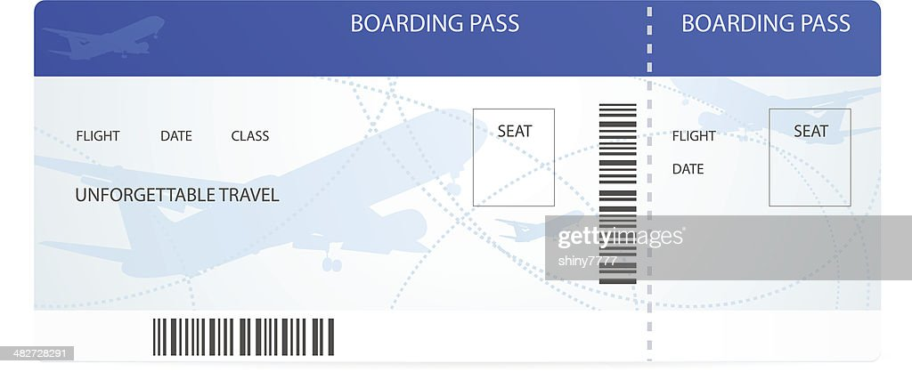 Blue boarding pass (ticket) with aircraft (airplane / plane) silhouette