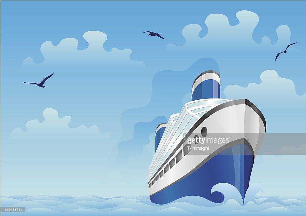 Blue boat in the sea : stock illustration