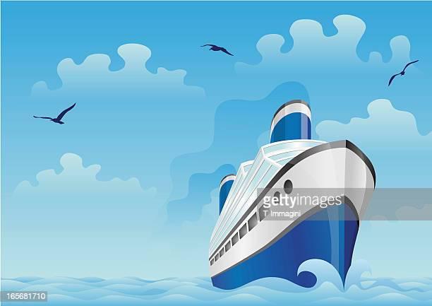 Blue boat in the sea
