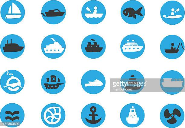 blue boating sailing icons - motorboating stock illustrations, clip art, cartoons, & icons