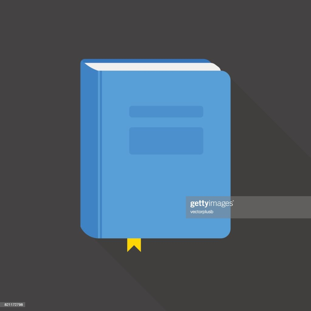 Blue book icon flat style with long shadow. Vector illustration