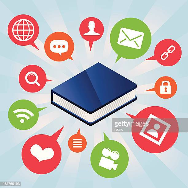 blue book surrounded by icons - surrounding stock illustrations, clip art, cartoons, & icons