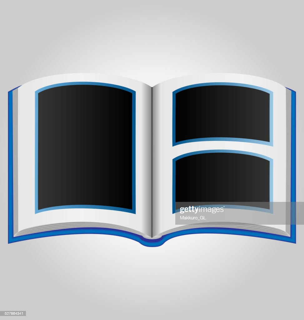 Blue book with blank photo frames